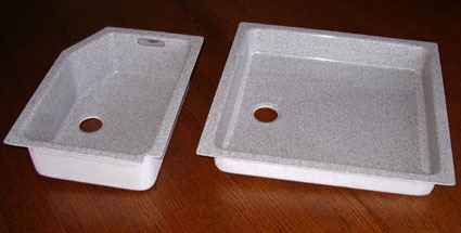 Sink for airline galley by Bucher Leichtbau. Manufacture from combustion resistant GFRP.